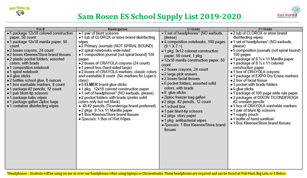 Student Supply List 2019-2020