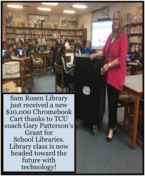 Sam Rosen Library won a $10,000 grant from TCU's Coach Gary Patterson to buy mobile computer cart.
