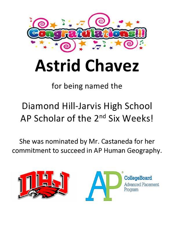 Diamond Hill-Jarvis High School AP Scholar of the 2nd Six Weeks