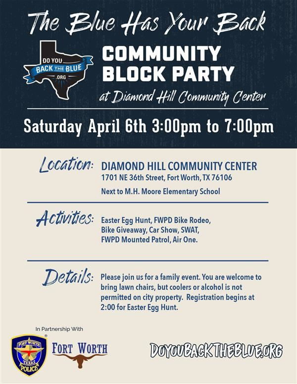 Join Diamond Hill-Jarvis High School clubs and organizations at the Diamond Hill Community Block Party on April 6th!