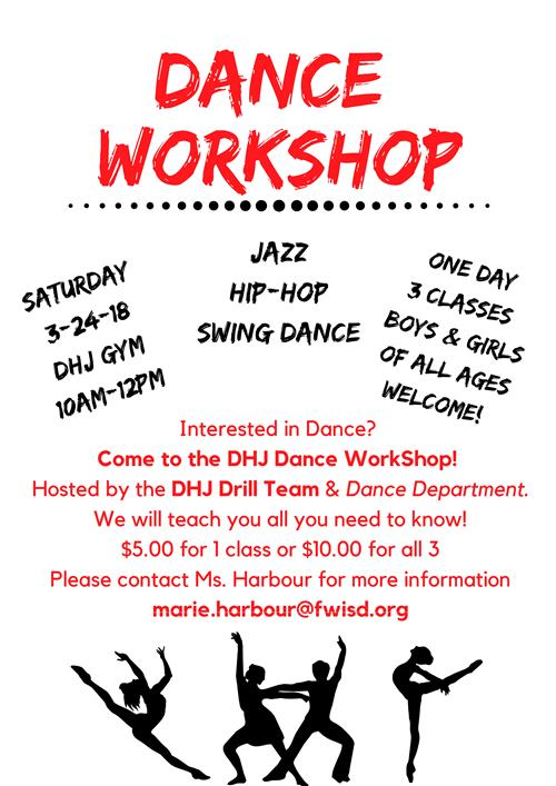 Don't forget to join us for our DHJ Dance Workshop on March 24, 2018!