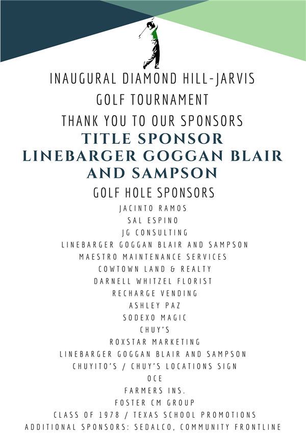 Inaugural Diamond Hill-Jarvis Golf Tournament Sponsors