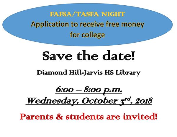 Diamond Hill-Jarvis HS College Financial Aid Help Session for Seniors