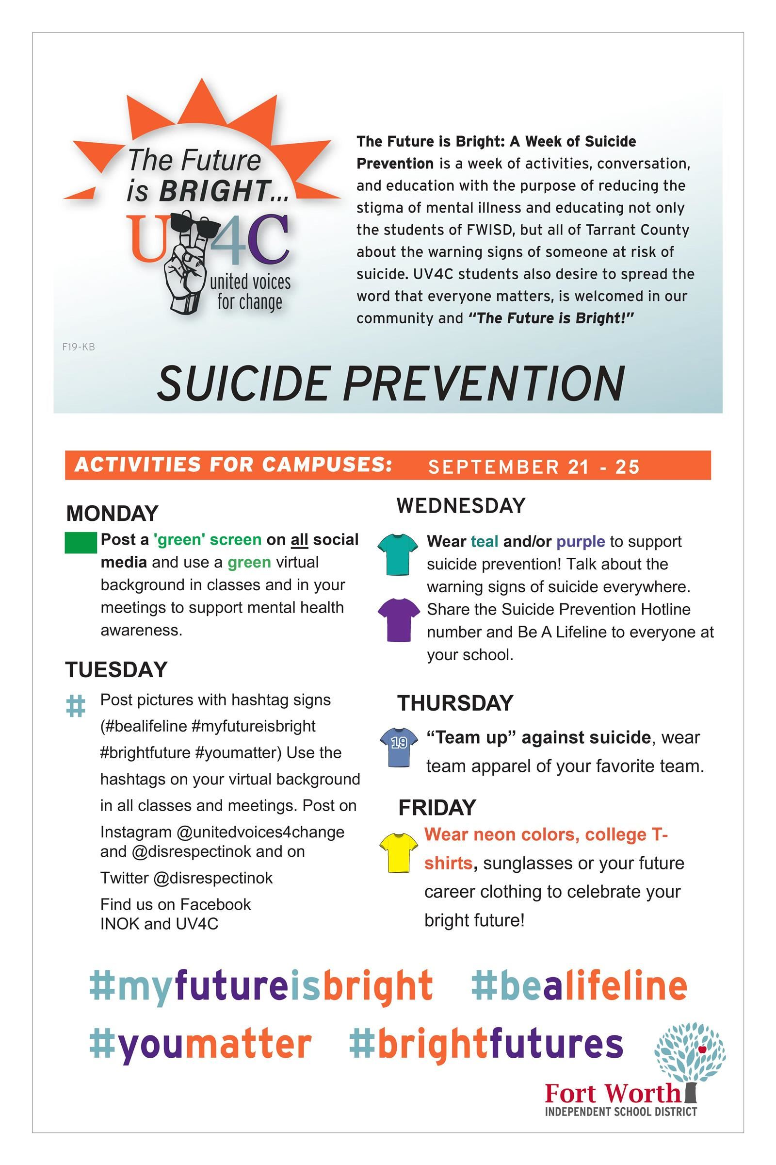 Suicide Prevention Week at DHJ