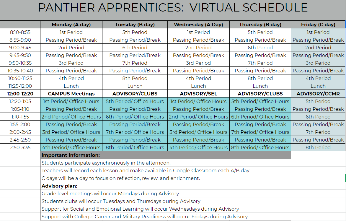 IMT Virtual Schedule Available for Panther Apprentices