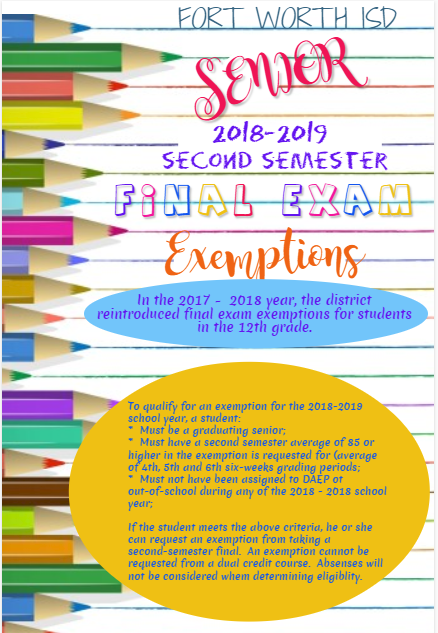 2018 - 2019 Second Semester Senior Final Exam Exemptions