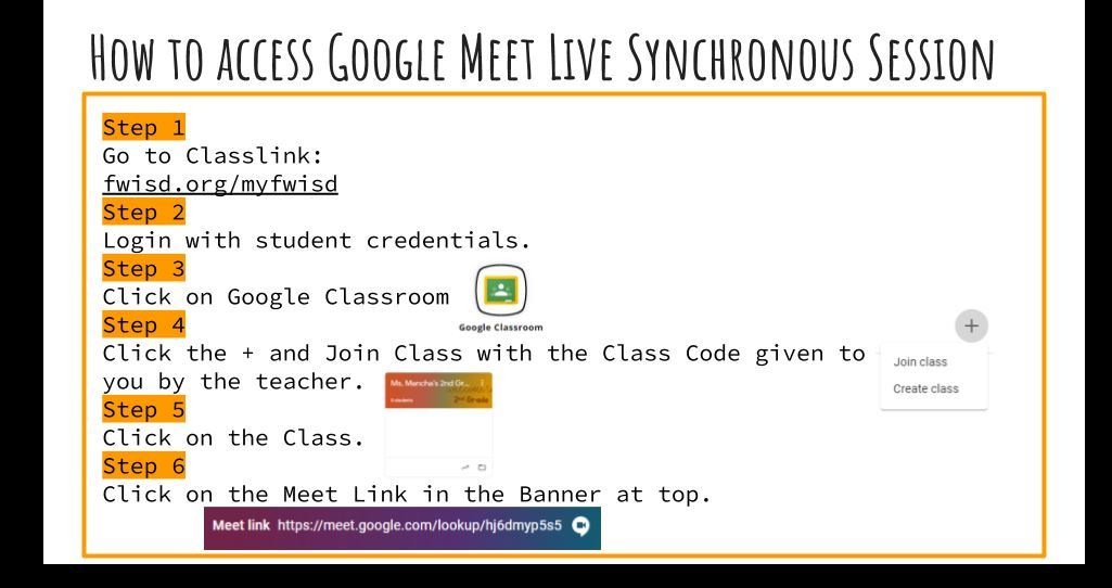 Easy Steps to Access Google Meets Synchronous Instruction