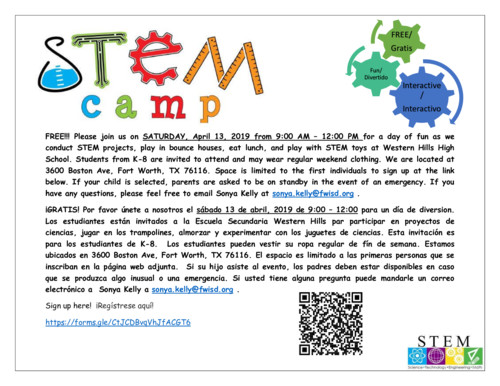 CANCELLED!!!!!  STEMS Camp at Western Hills High School