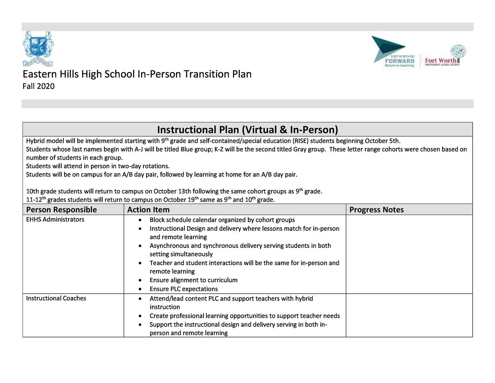 EHHS Campus in-Person Transition Plan Fall 2020