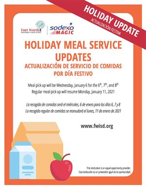 Meals To Go Service Suspended For Winter Break, Resumes January 6