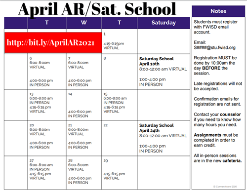 Attendance Recovery/Saturday School - APRIL