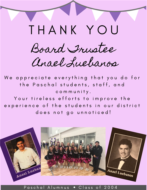 Thank you to our wonderful board member