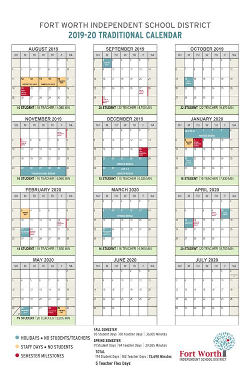 2020 Employee Calendar Fort Worth ISD Board of Education Approves 2019 20 School Calendar