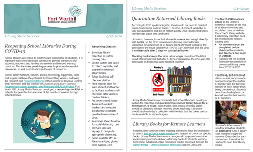 Reopening Libraries During COVID-19 Newsletter