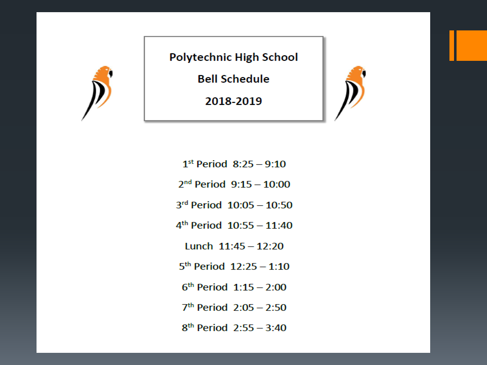 2018-19 Poly Bell Schedule