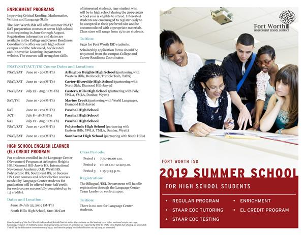 FWISD High School Summer Programs