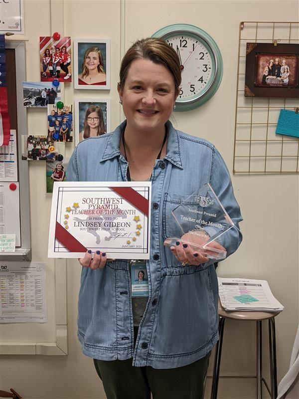 Congratulations January 2020 Teacher of the Month, Lindsey Gideon