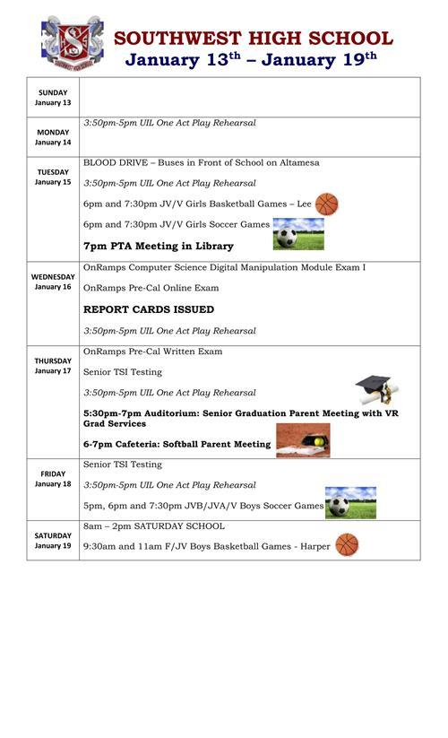 January 13th - 19th Weekly Calendar