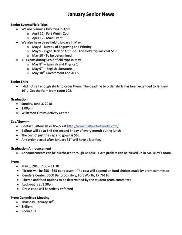 January Meeting Notes
