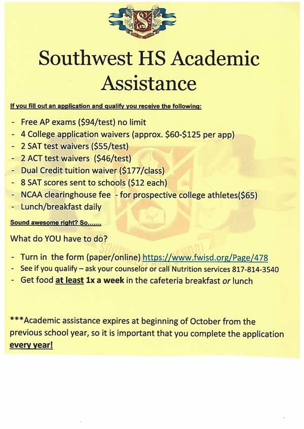 Southwest Academic Assistance Flier
