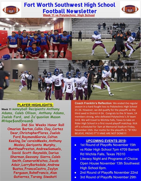 Week 11 Football Newsletter