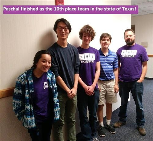The 2018 UIL Science Team: Thu Pham, Andy Ryu, Mark Moses, Joseph Reitman and coach Mr. Brinker
