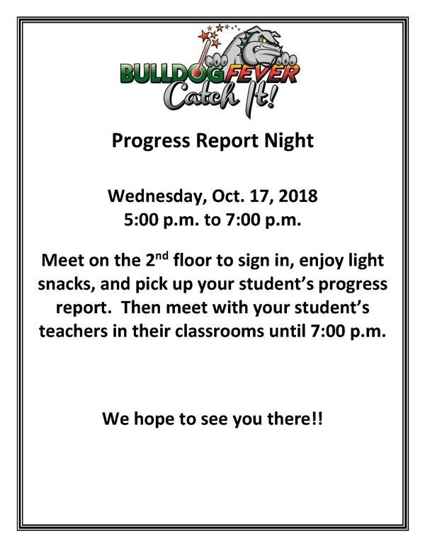CANCELLED:  Progress Report Night