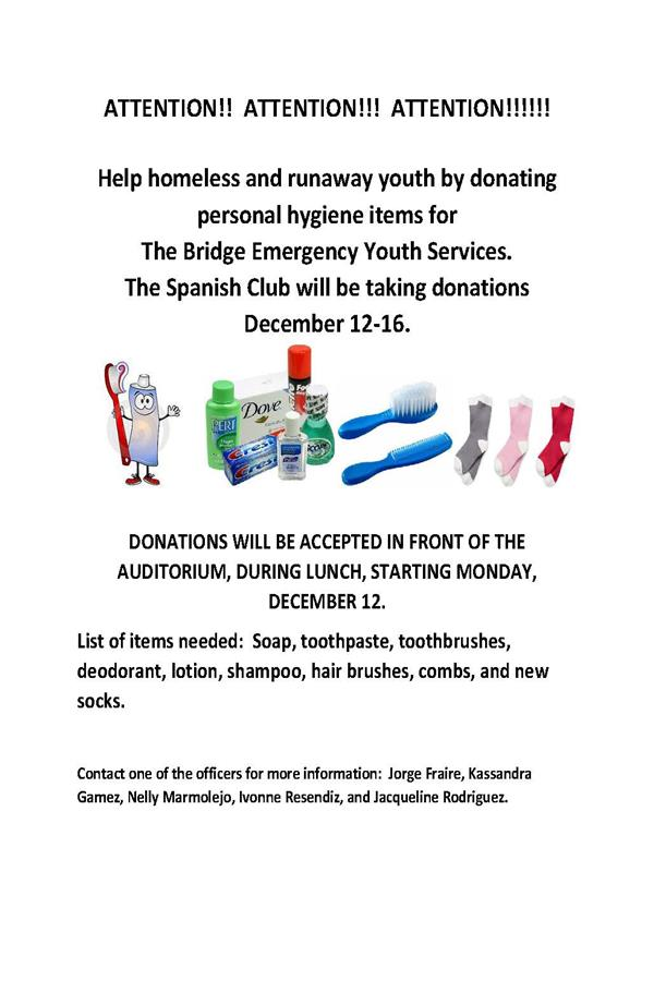 Spanish Club Collects Donations for Homeless and Runaway Youth
