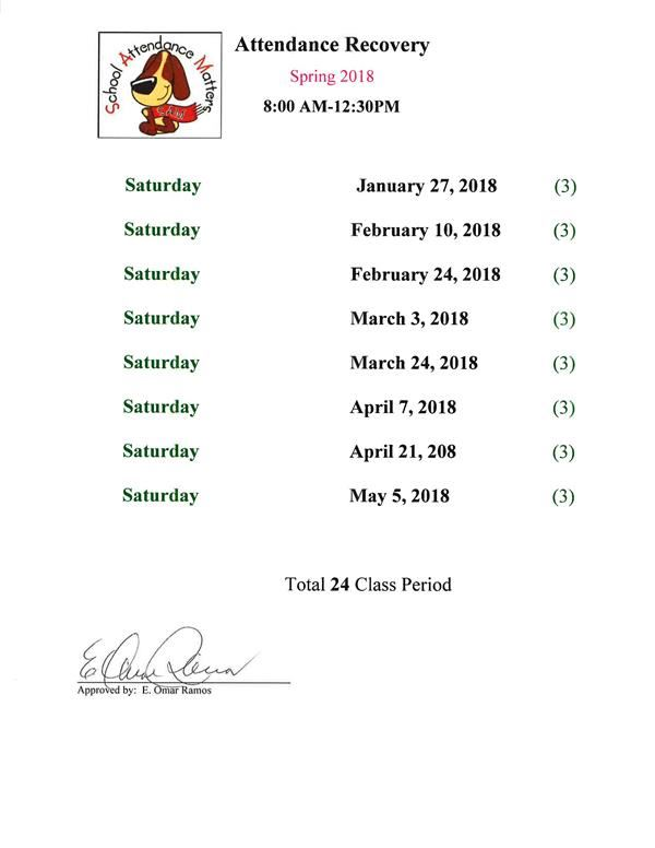 Attendance Recovery Dates