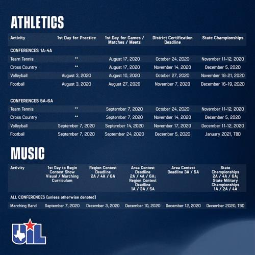 UIL Updated Schedule