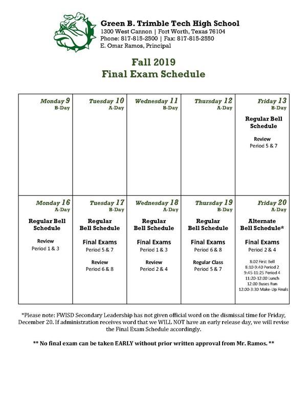 1st Semester Final Exam Schedule
