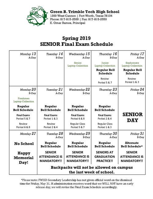 Unt Final Exam Schedule Spring 2019 Spring 2019 Final Exam Schedule