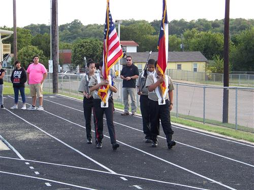 Joint Color Guard with Meacham MS for the Pink Out Rally