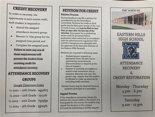 attendance recovery and credit restoration