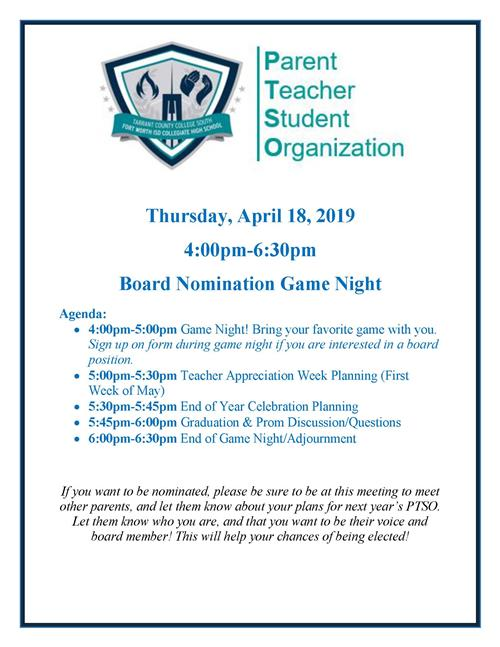 Parent Teacher Student Organization / April 18, 2019 Meeting