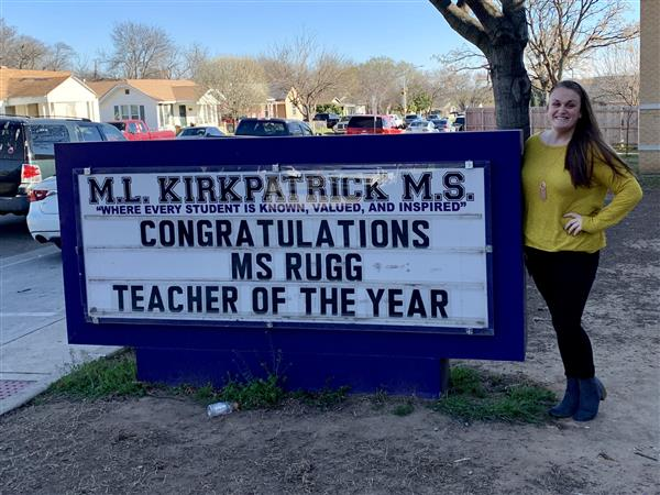 Ms. Rugg! Teacher of the Year!