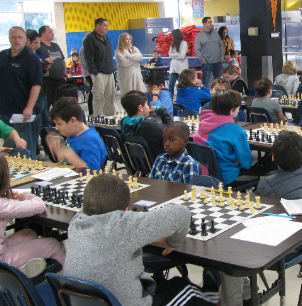 students at regional chess match