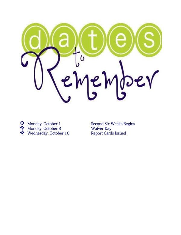 Monnig Dates to Remember for October