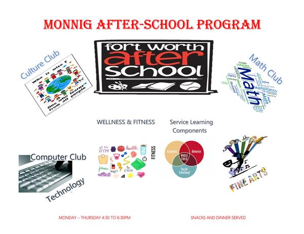 MONNIG After School Program Mon - Thurs from 4:30 - 6:30