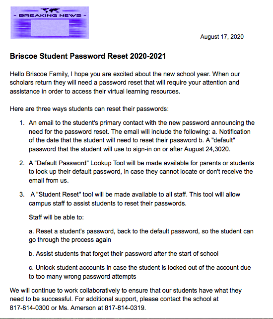 Student Password Reset