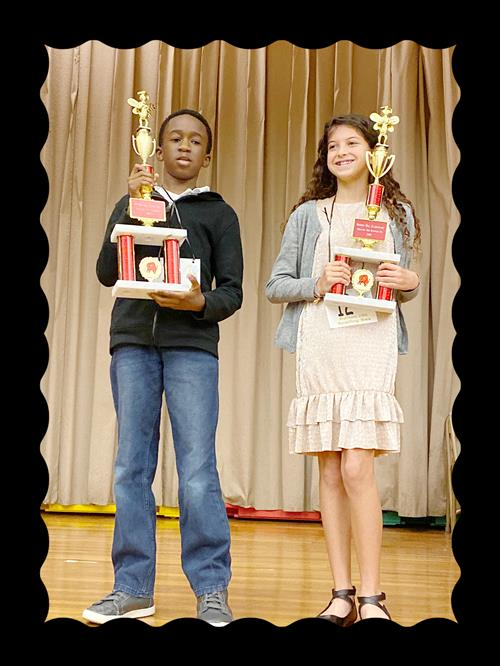 Spelling Bee Winners! 1st Place Tawfiq Alhassan & 2nd Place Lilah Ball