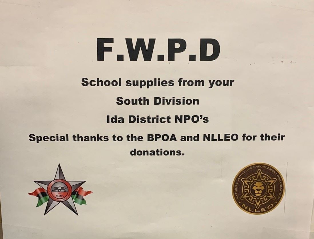F.W.P.D South Division Donates School Supplies