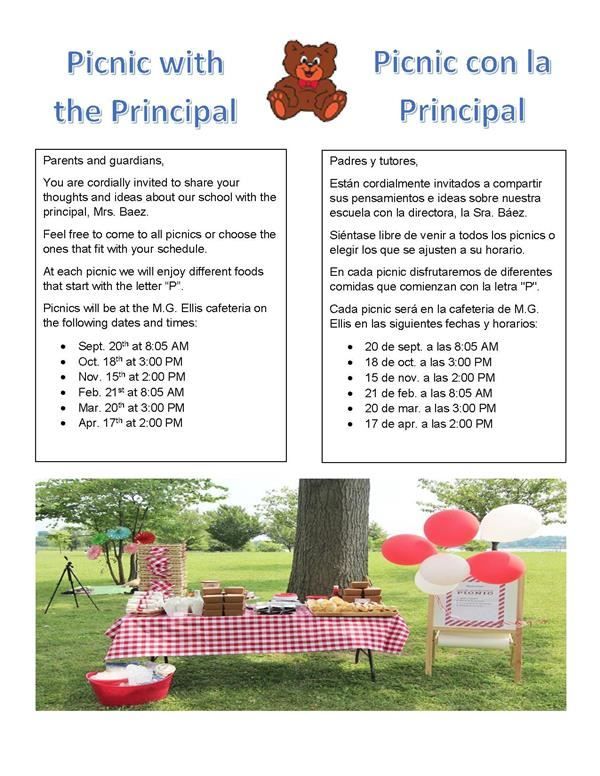 PICNIC WITH THE PRINCIPAL | PICNIC CON LA PRINCIPAL