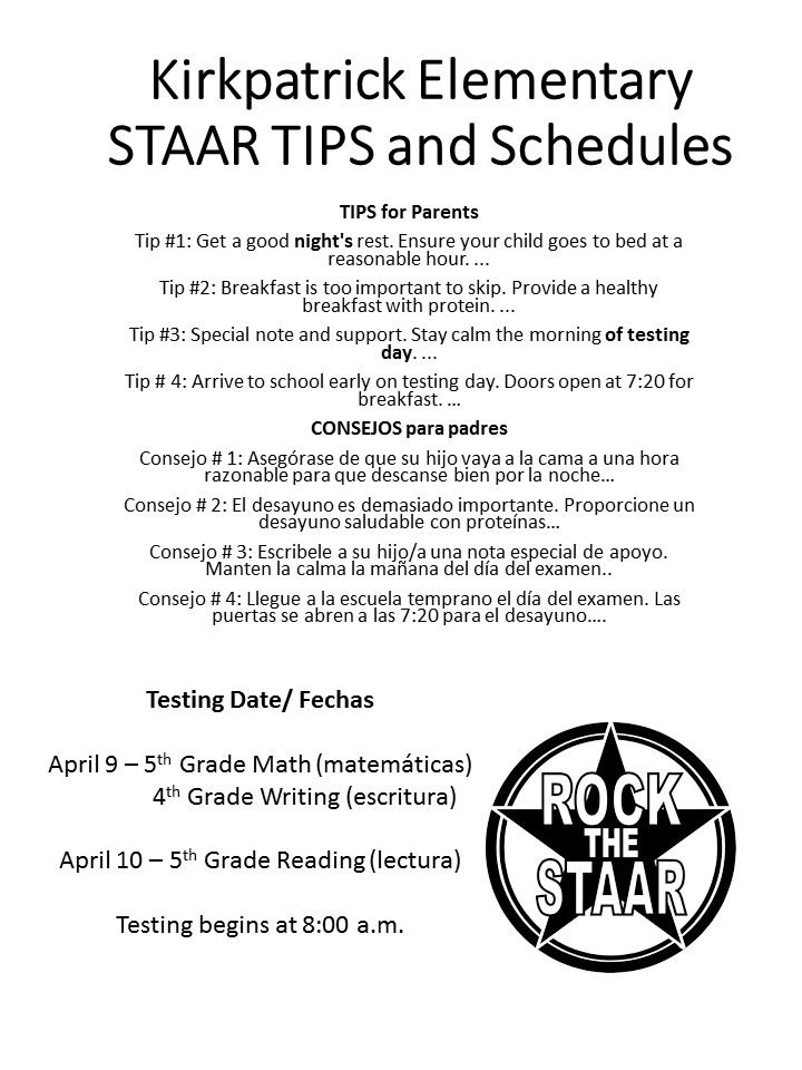 STAAR Tips and Schedules