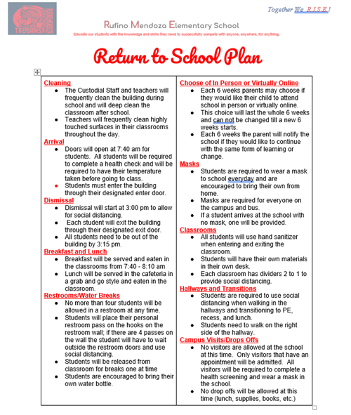 Return to School page 1