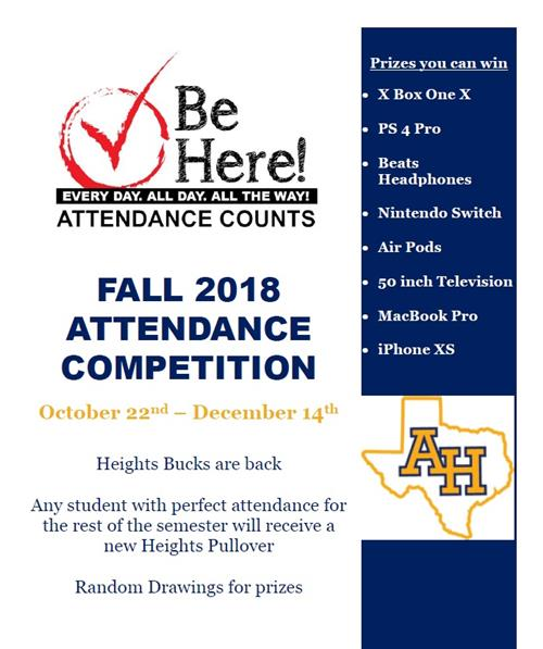 2018 Fall Attendance Competition- Heights Bucks are Back!!