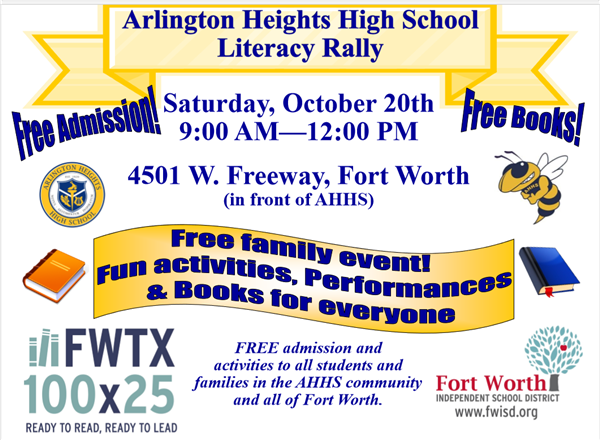 AHHS Literacy Rally Saturday, October 20