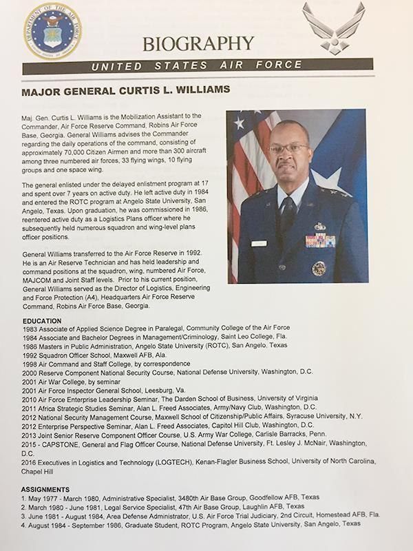 Major general curtis l williams major general curtis l for Air force bio template